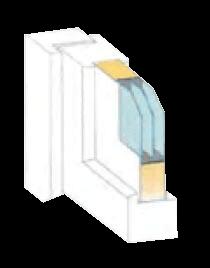 Kunststofffenster Grafik Schichtaufbau Energiesparen durch Dreifachverglasung